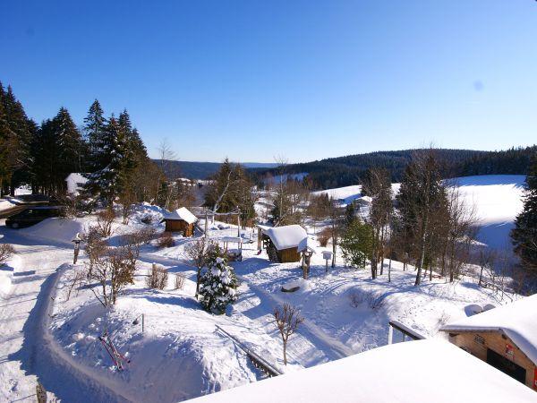 Aussicht auf die schneebedeckte Umgebung im Winter